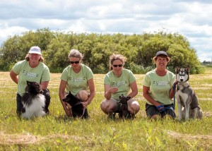 The Agility Squad:  Carol & Jett, Patsy & Zoe, Birte & Nike, Brigitte & Solo.  Photo by Joan Morgan